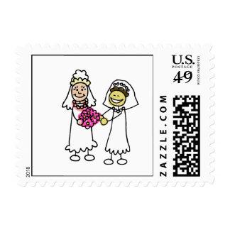 Novia lesbiana interracial asiática del boda timbres postales