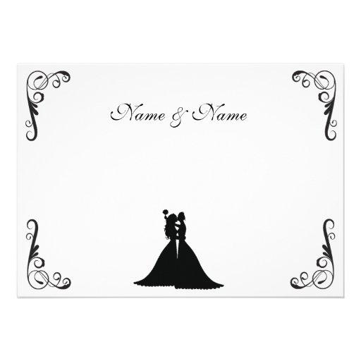 Novia lesbiana y boda blanco y negro de la novia comunicado personalizado