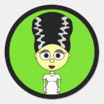 Novia linda de Frankenstein Etiqueta Redonda