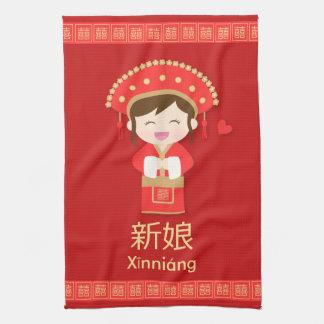 Novia linda del boda del chino tradicional para toallas de cocina