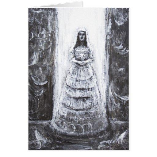 Novia malvada (retrato surrealista blanco y negro) felicitaciones