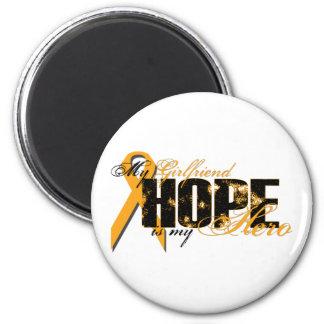 Novia mi héroe - esperanza de la leucemia imán redondo 5 cm