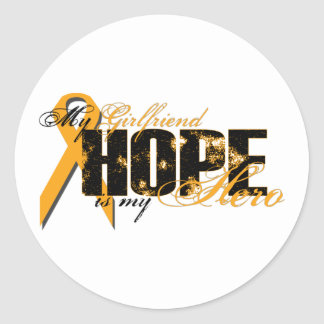 Novia mi héroe - esperanza de la leucemia pegatina redonda