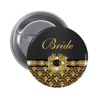 Novia negra del boda del damasco del oro pin redondo de 2 pulgadas