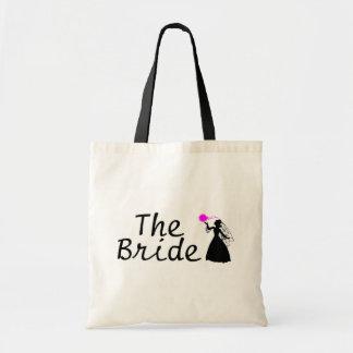 Novia negra y rosada de la novia bolsa tela barata