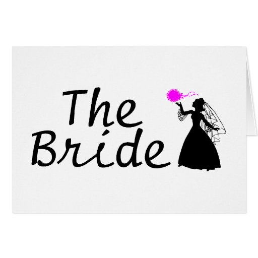 Novia negra y rosada de la novia tarjeta de felicitación