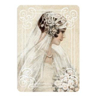 Novia nupcial w/Frame del vintage de la invitación