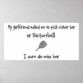 Novia o Racquetball de la selección Poster