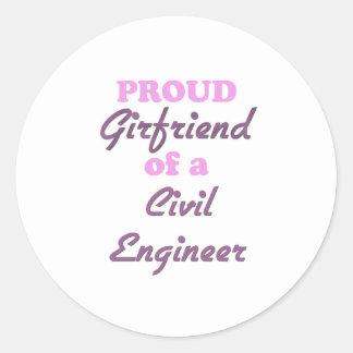 Novia orgullosa de un ingeniero civil etiqueta redonda