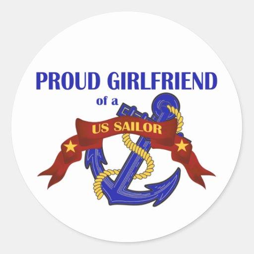 Novia orgullosa de un marinero de los E.E.U.U. Etiqueta Redonda