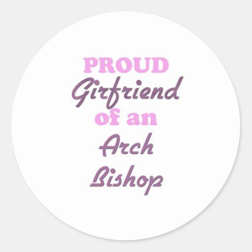 Novia orgullosa de un obispo del arco pegatina redonda