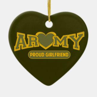 Novia orgullosa del ejército adorno de cerámica en forma de corazón
