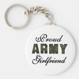 Novia orgullosa del ejército llavero redondo tipo pin