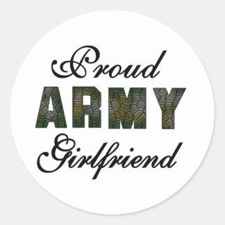 Novia orgullosa del ejército pegatina redonda