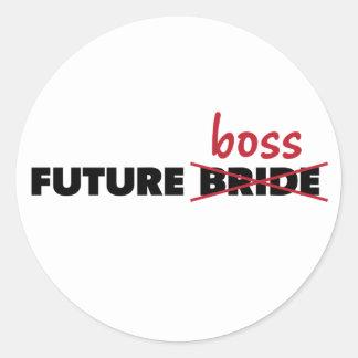 Novia/pegatinas futuros de Boss Pegatina Redonda