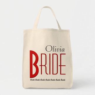 Novia personalizada blanco negro rojo bolsa tela para la compra