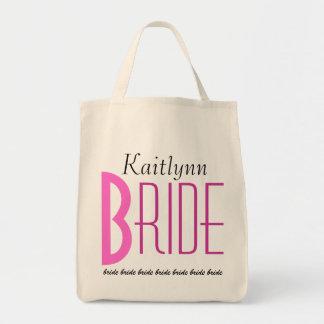 Novia personalizada blanco negro rosado bolsa tela para la compra