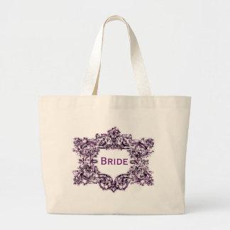Novia púrpura del marco del vintage bolsa tela grande