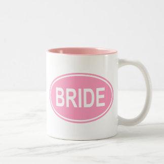 Novia que casa rosa oval tazas de café