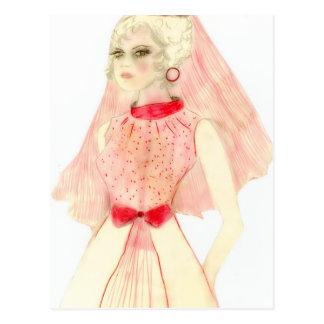 Novia retra en rojo postal