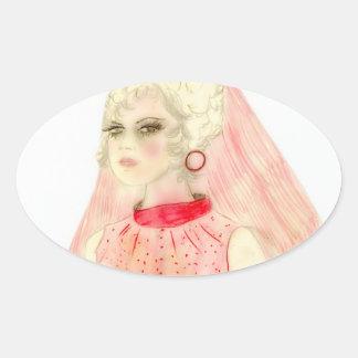 Novia retra en rojo y rosa calcomanía ovaladas personalizadas