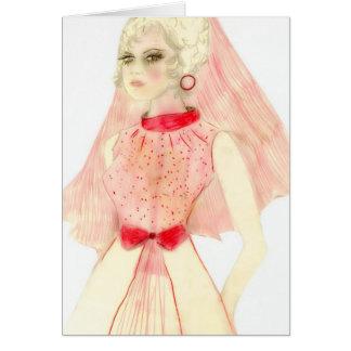 Novia retra en rojo y rosa tarjeta de felicitación