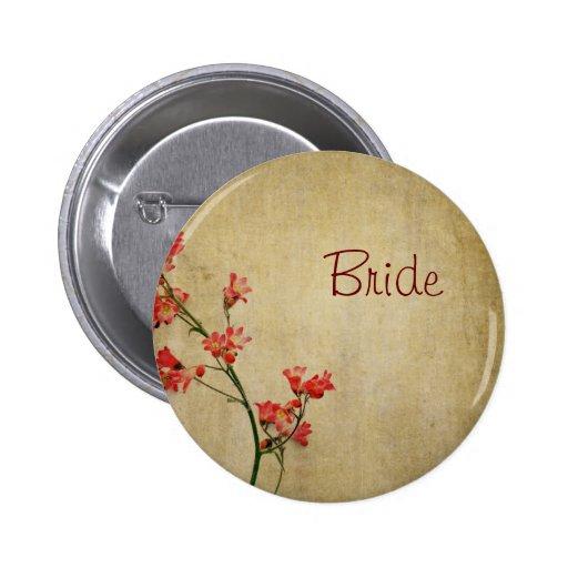 Novia roja de los pájaros del flor pins