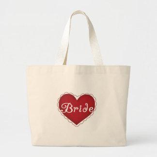 Novia roja del corazón bolsas