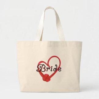 Novia roja del corazón del nudo bolsas lienzo