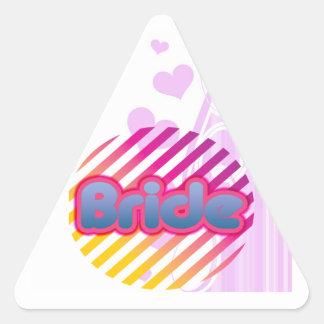 novia rosada a ser bachelorette que casa al fiesta pegatina triangular