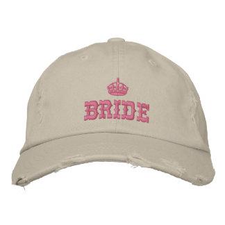 Novia rosada con la corona gorras de beisbol bordadas