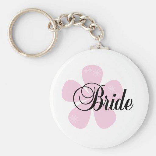 Novia rosada de la flor llaveros personalizados