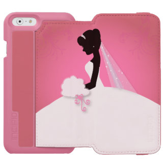 novia rosada linda moderna de la silueta de la funda billetera para iPhone 6 watson