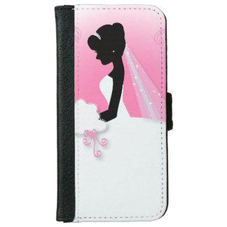 novia rosada linda moderna de la silueta de la funda cartera para iPhone 6
