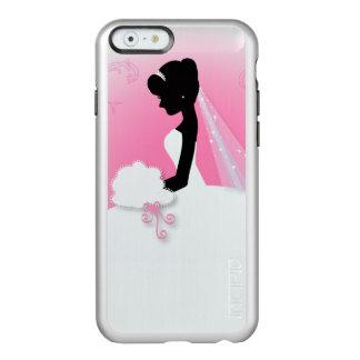 novia rosada linda moderna de la silueta de la funda para iPhone 6 plus incipio feather shine