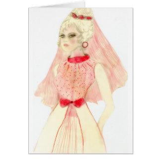 Novia rosada retra tarjeta de felicitación