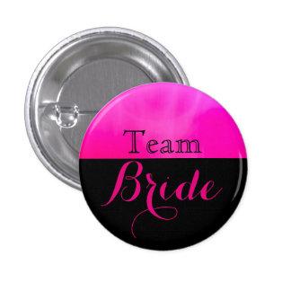 Novia rosada y negra del equipo del boda pin redondo de 1 pulgada