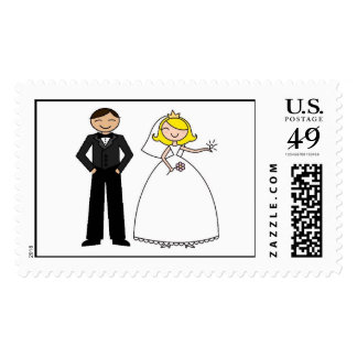 Novia rubia con los pares del boda del novio sello postal
