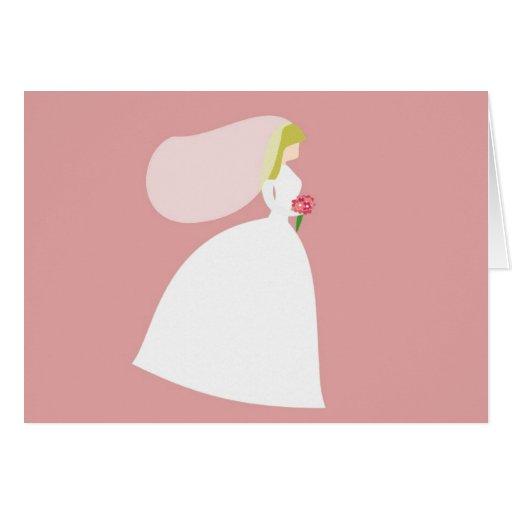 Novia simple en rosa tarjeta