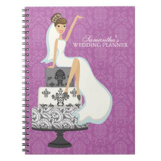 Novia triguena en el pastel de bodas {orquídea} libro de apuntes con espiral