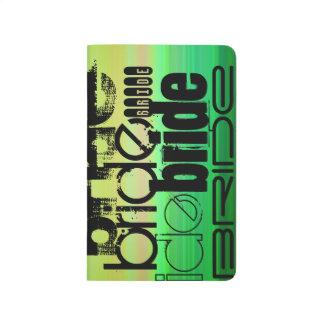 Novia; Verde vibrante, naranja, y amarillo Cuaderno