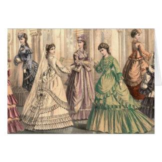 Novia y asistentes del Victorian Tarjeta De Felicitación