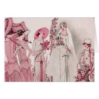 Novia y asistentes tarjeta de felicitación