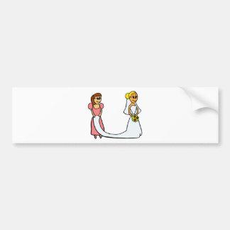 Novia y criada del dibujo animado del honor etiqueta de parachoque