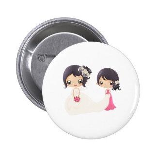 Novia y criada del honor pin redondo 5 cm