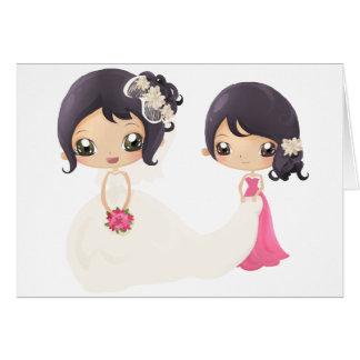 Novia y criada del honor tarjeta de felicitación