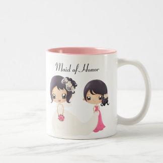 Novia y criada del honor tazas de café