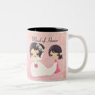 Novia y criada del honor taza de café de dos colores