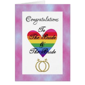 novia y enhorabuena lesbiana gay de la novia tarjeta de felicitación