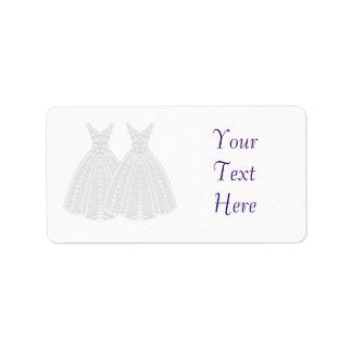 Novia y etiqueta de la novia etiqueta de dirección